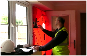 Air pressure test a new build residential dwelling