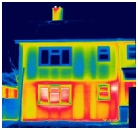 Thermal image of building fabric heat loss