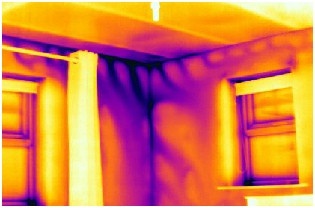 Thermal image of air leakage and air movement behind the plasterboard